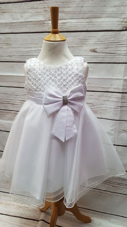 Infant Girls White Bow Occasion Bridesmaid Party Dress